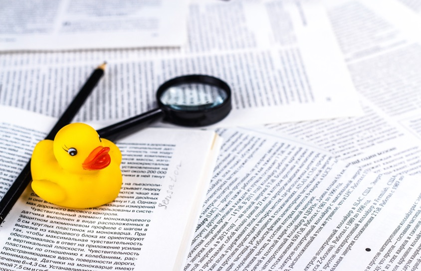 hoax symbol with rubber duck, pen and magnifying glass