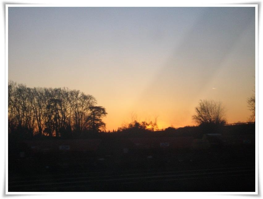 Crepúsculo desde el tren