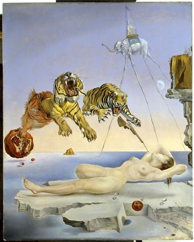 Salvador Dalí. Un segundo antes del despertar de un sueño provocado por el vuelo de una abeja alrededor de una granada, c. 1944. Museo Nacional Thyssen-Bornemisza, Madrid. © Salvador Dalí, Fundació Gala-Salvador Dalí, VEGAP, Barcelona, 2018.